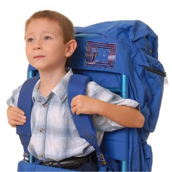 kid with backback with rfid tag