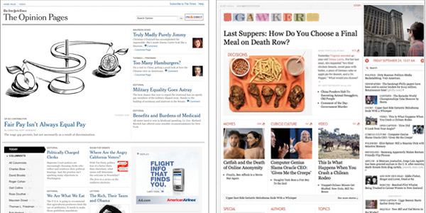 gawker beta and NYT opinion pages