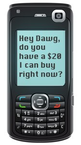 cell phone with pot text message