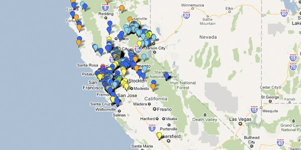 map of roadkill in california