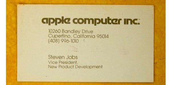 steve jobs' old business card