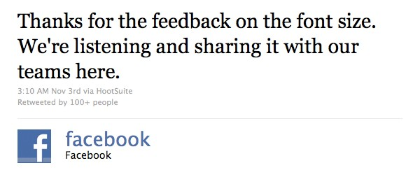 facebook feedback on twitter