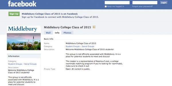 roomsurf group for middlebury college