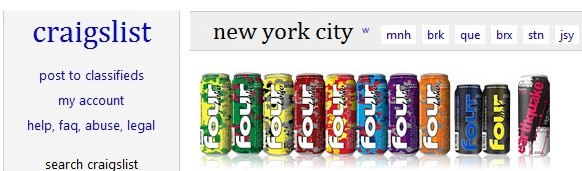 Craigslist and Four Loko