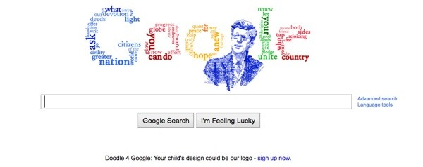 Google honors JFK with logo doodle.