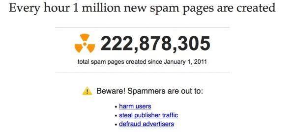 Spam Clock tracks pages created since January 1st.