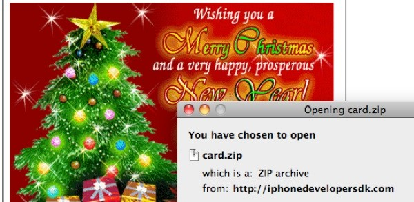 Christmas eCard steals government documents.