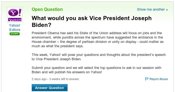 Joe Biden Takes to Yahoo! Answers