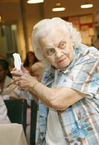 older woman with wii