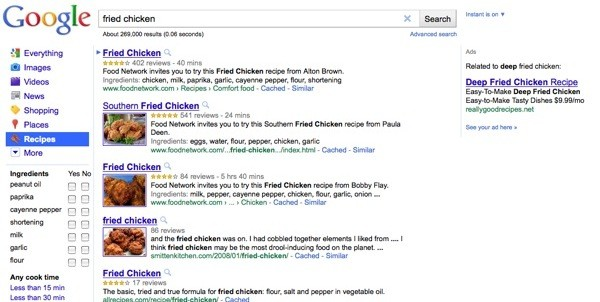 Google introduces Recipes search tab.
