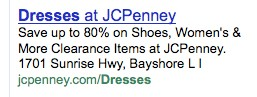 jc penney google results