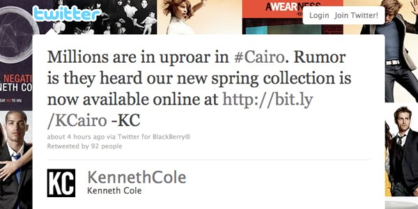 kenneth cole egypt tweet