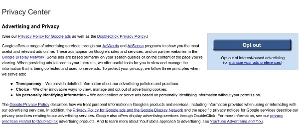 Opt-Out of Google Ads