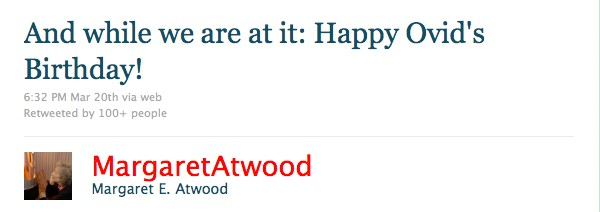 tweet from margaret atwood
