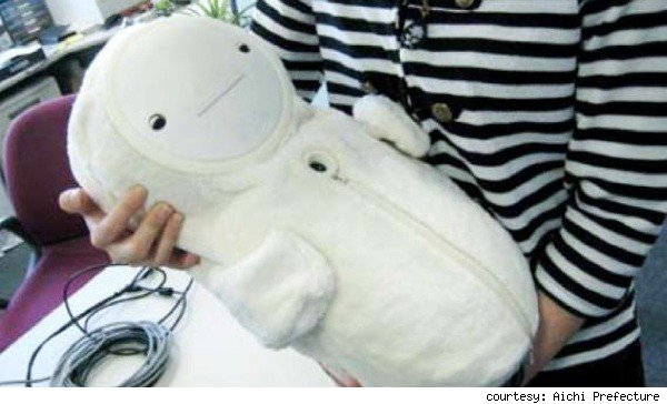 Robot baby keeps elderly company.