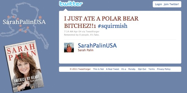 fake sarah palin tweet