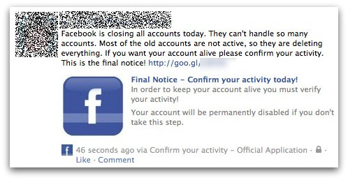 Facebook Closing Account Scam