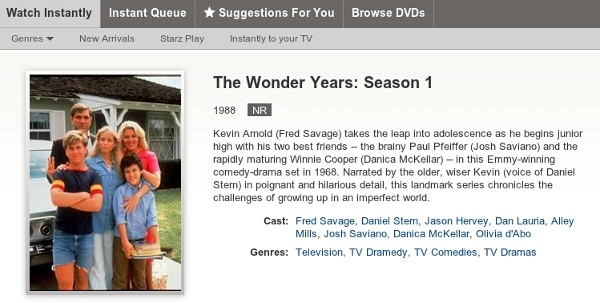 Wonder Years on Netflix