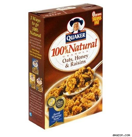 unhealthy Quaker 100% Natural Granola, Oats, Honey % Raisins.