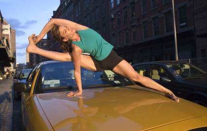 yoga pose on cab
