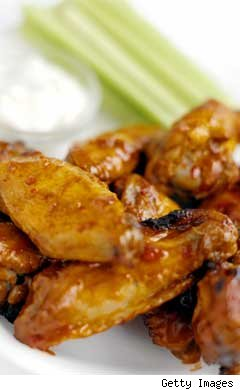 buffalo chicken wings, celery