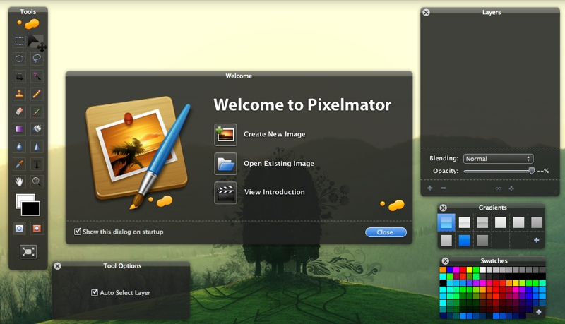 Pixelmator Welcome screen