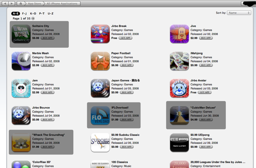 App Store page 1
