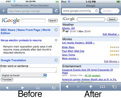 beforeaftercw igoogle Bye Bye – iGoogle Optimized for the iPhone…