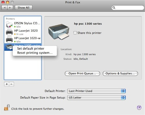 how to change default printer mac