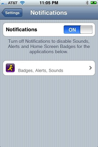 Settings for Push Notifications