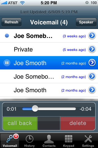 VoiceCentral voicemail screenshot