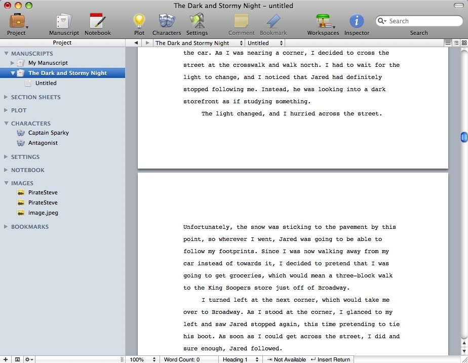 Storyist user interface and manuscript