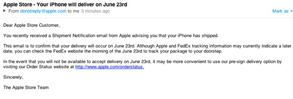iPhone 4 email