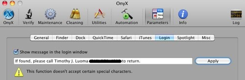 HowTo: Add contact information to your Mac's login screen