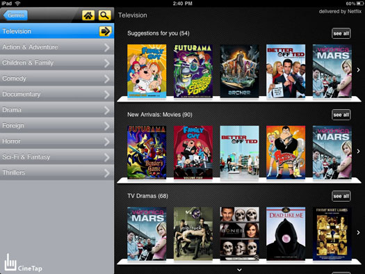 CineTap brings a great Netflix frontend to the iPad