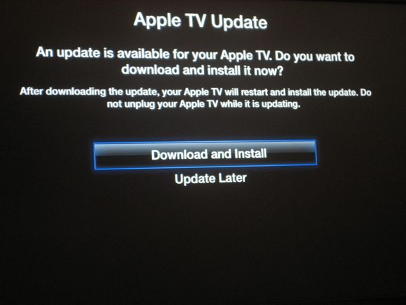 apple tv update confirmation