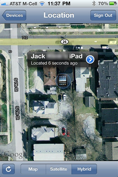 Find My iPhone screen locates the missing iPad