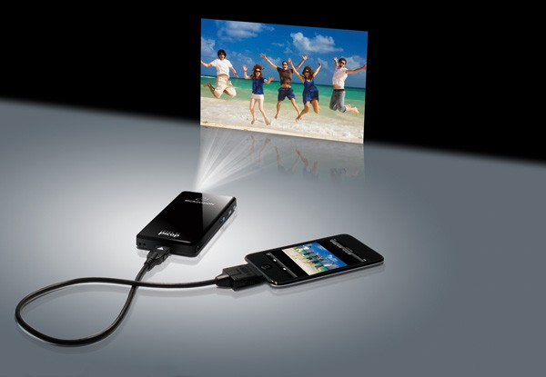 Microvision runs tv out apps including rage hd on the for Apple projector price