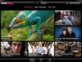 The home screen UI highlights popular shows with an attractive layout