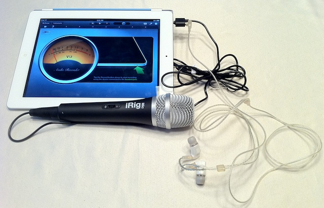 iRig Mic connected to an iPad 2