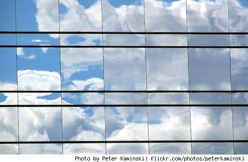 Clouds on a building