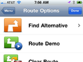 Route Options Screen 1