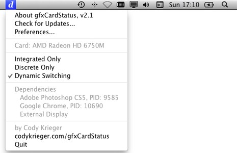 gfxCardStatus for Mac
