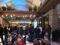 Line inside a mall at Bellevue Washington. A warm and cozy place to wait.