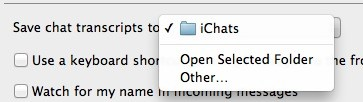 chat transcripts folder setting