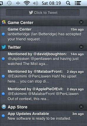 Notification Center itself, in all it's linen-clad glory