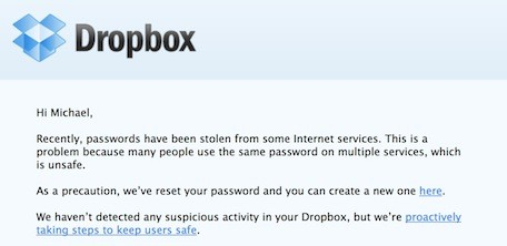 Dropbox sends password change notification to some users