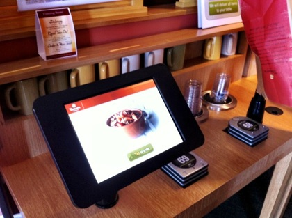 Use an iPad to order food at Panera Bread