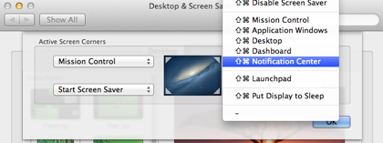 Mountain Lion 101 Notification Center in a hot corner