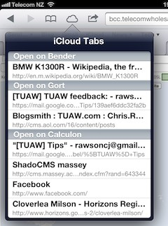 iOS 6 Safari and iCloud Tabs
